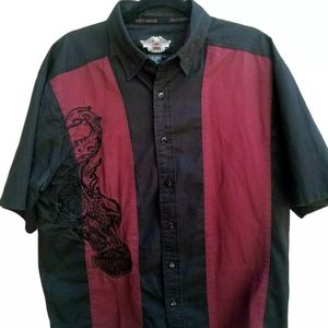 Harley-Davidson Mens Large Embroided button shirt
